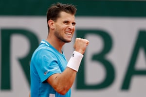 Dominic Thiem reacts as he wins the second set 7-5.