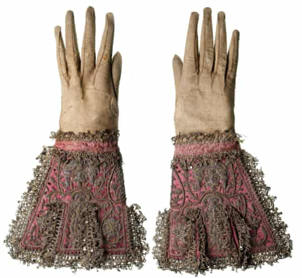 A pair of gloves made of kid leather and pink silk said to have been worn by Charles I at his execution.
