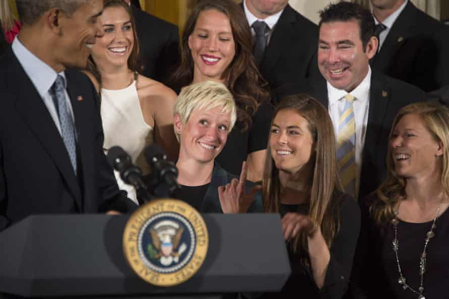 Barack Obama jokes with Megan Rapinoe during an event honouring members of the 2015 Women's World Cup winners at the White House.