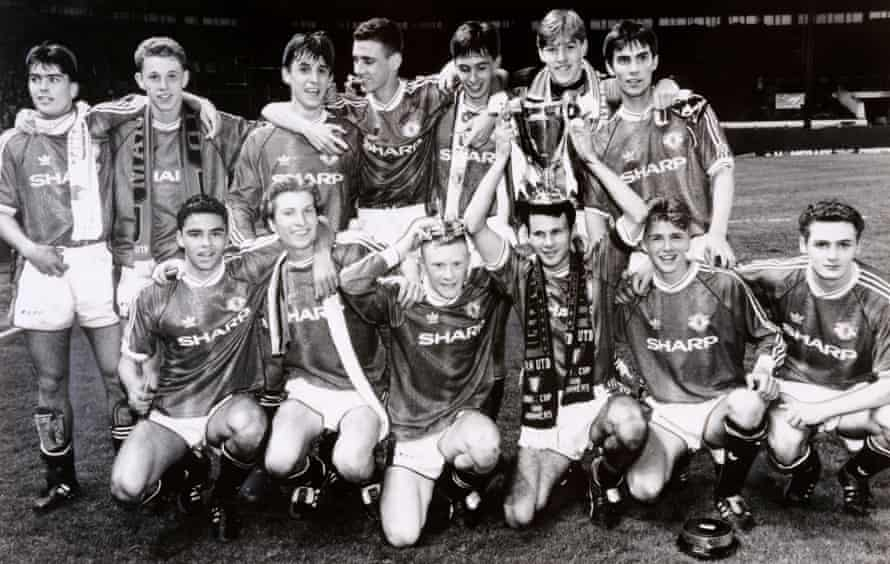 Ben Thornley, back row far left, celebrates Manchester United's FA Youth Cup win of 1992 with, among others, Nicky Butt, Gary Neville, Keith Gillespie, Robbie Savage, Ryan Giggs and David Beckham.