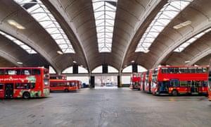 general view of bus garage.