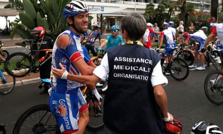 The Groupama-FDJ rider and GC hopeful Thibaut Pinot was caught up in a big crash in the closing stages.