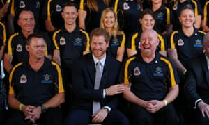 Prince Harry with the Invictus team Australia squad at the official launch of the Invictus Games Sydney 2018 at Admiralty House