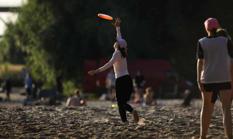 People playing frisbee in Poland