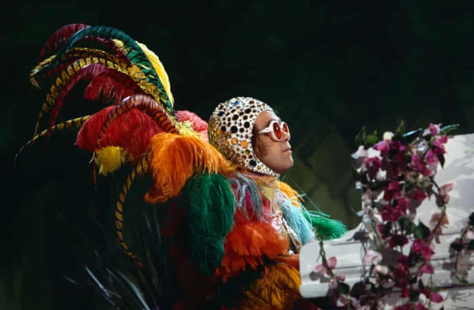 'I've never been very comfortable with seeing myself on a big screen': Elton John performs on the Muppet Show, Elstree Studios, UK.