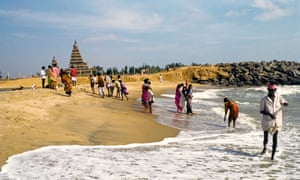 The beach at Mamallapuram, Tamil Nadu with its shore temple in view.