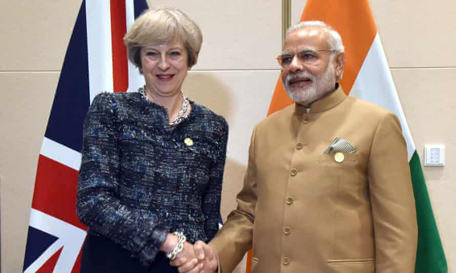 Theresa May shakes hands with her Indian counterpart, Narendra Modi, at the G20 summit in China, last month.