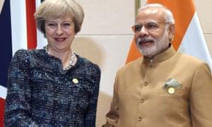 Theresa May and Indian PM Narendra Modi at G20 summit