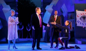 From left: Tina Benko as Calpurnia, Gregg Henry as Julius Caesar, Teagle F Bougere as Casca, and Elizabeth Marvel as Marc Anthony.