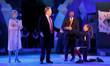 Gregg Henry, centre, portrays Trump in the role of Julius Caesar, a characterisation that has drawn criticism from rightwingers.