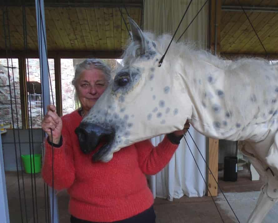 Penny Saunders with Horse, a lifesize rideable marionette from Forkbeard Fantasy's Invisible Bonfires.