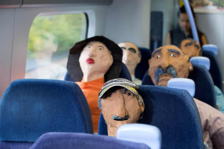 Oscar Murillo's effigies take the train from London to Margate.