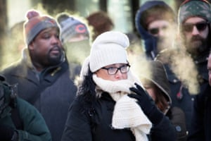 Chicago, ILCommuters brave sub-zero temperatures as they make their way to work in the Loop. Record cold temperatures are gripping much of the U.S. and are being blamed on several deaths over the past week.