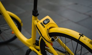 Scan and go: the solar powered lock also tracks every journey the Ofo makes