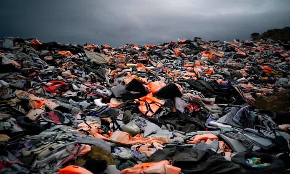 Lifejackets abandoned by migrants on the Greek island of Lesbos, October 2019