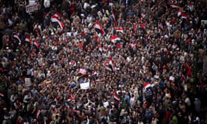 Demonstrators in Tahrir Square, February 2011. Critics say siting antiquities there will erase its recent history as a focal point for protests.