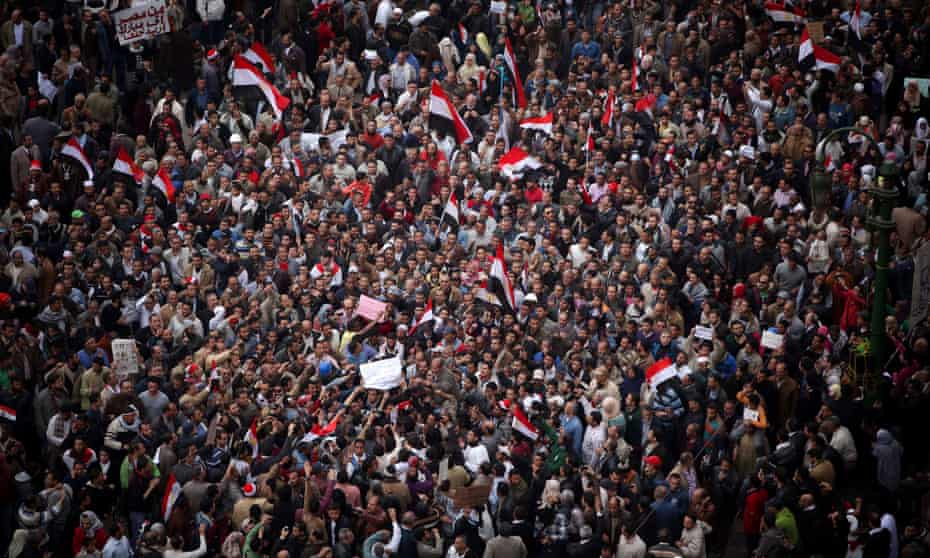 Anti-government protesters demonstrate in Tahrir Square, the center of anti-government demonstrations, in Cairo, Egypt, Sunday, Feb. 6, 2011. A sense of normalcy began to return to the capital of some 18 million people, which has been largely closed since chaos erupted shortly after the protests began on Jan. 25. (AP Photo/Tara Todras-Whitehill)