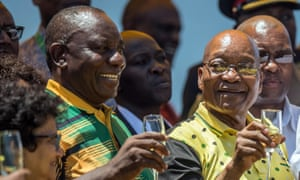 Jacob Zuma and Cyril Ramaphosa toast the ANC's 106th anniversary celebrations last month