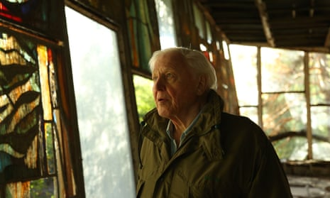 Sir David Attenborough pictured in Chernobyl while filming David Attenborough: A Life on Our Planet