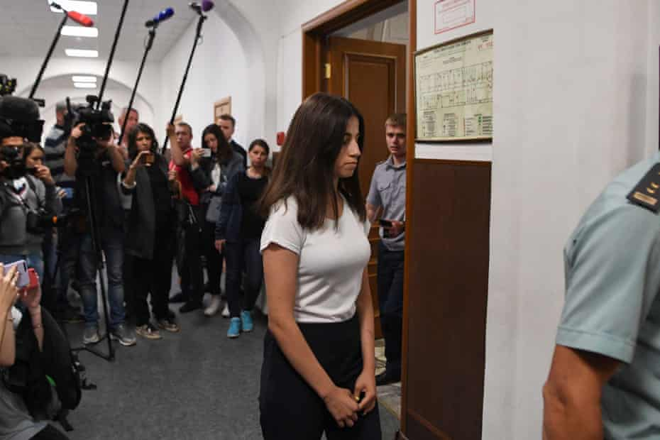 Angelina Khachaturyan arrives at a court hearing in Moscow in June 2019.