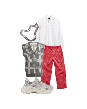 Peter Bevan, fashion assistant 'Bright cords are a cool alternative to chinos.' Shirt, £85, gant.co.uk. Bracelet, £125, saskia-diez.com. Trousers, £185, iggy.nyc. Vintage sweater vest, £20, beyondretro.com. Trainers, £85, fila.co.uk