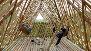 Chilling in a bamboo treehouse.