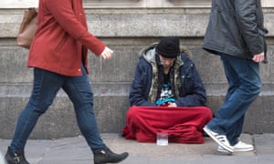 A homeless person in London