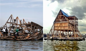 Local residents work to dismantle the Makoko floating school after it collapsed