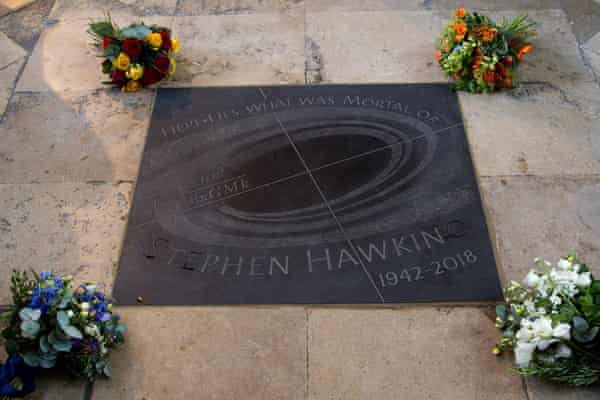 Stephen Hawking's ashes were laid under a stone in the nave of Westminster Abbey.