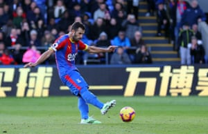 Milivojevic scores the penalty to give Palace the lead.