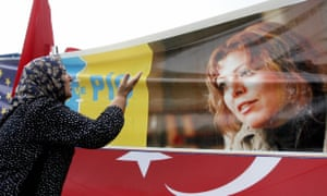 A protestor outside the court during Elif Shafak's trial in Istanbul in 2006.