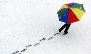 Woman with umbrella, Davos, Switzerland.
