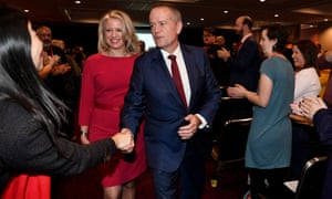 Bill and Chloe Shorten leave the Victorian Labor Conference in Melbourne on Sunday