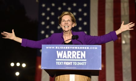 Elizabeth Warren speaks during a rally in Washington Square Park in New York, New York, on 16 September.
