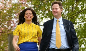 Miriam González Durántez with husband Nick Clegg, walking on a tree-lined path hand in hand
