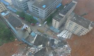 Aerial view of the landslide in Liuxi industrial park.