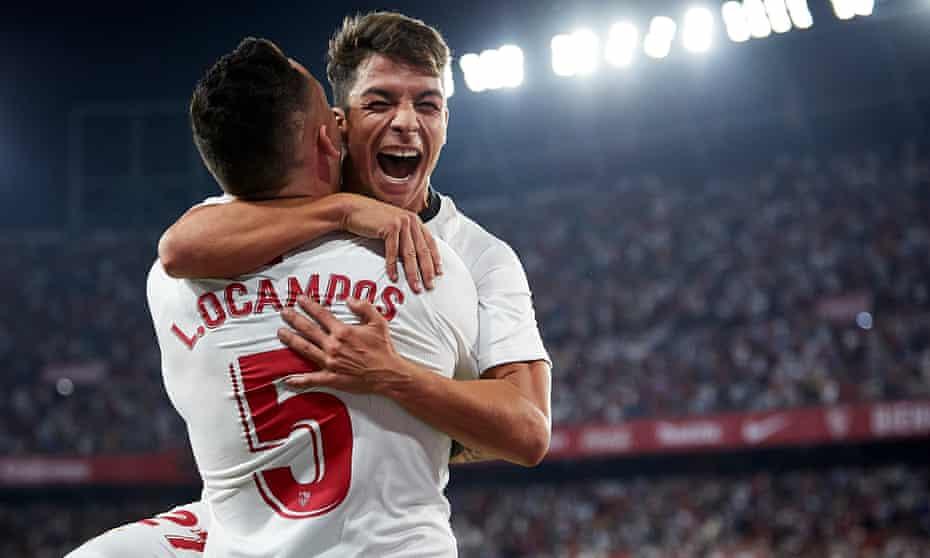Lucas Ocampos celebrates scoring his team's second goal at the Estadio Ramon Sánchez Pizjuan.
