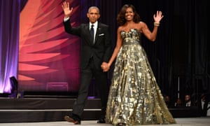 President Barack Obama and Michelle arrive at the Phoenix Awards Dinner in Washington, DC, in September 2016