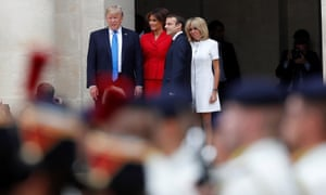 Emmanuel Macron, Brigitte Macron, Donald Trump and Melania Trump attend a welcoming ceremony at Les Invalides in Paris.