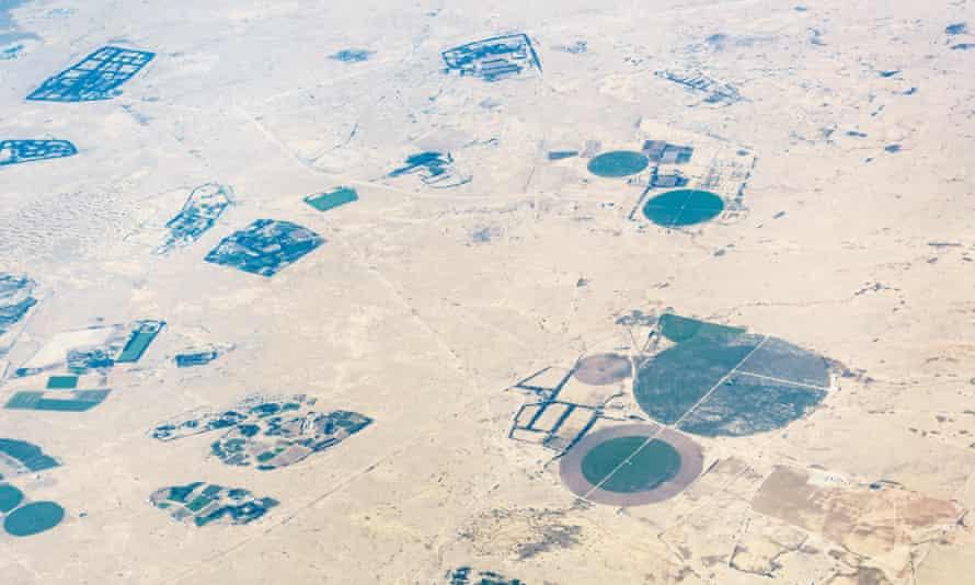 An aerial view of fields in the Qatari desert