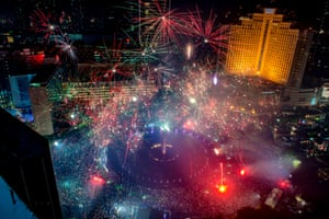 Fireworks explode in downtown Jakarta, Indonesia
