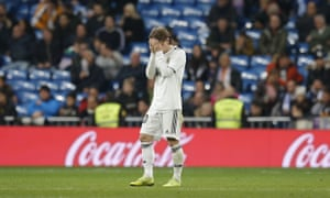 Real Madrid's Luka Modric reacts at the end their defeat to Real Sociedad.