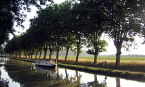 Plane trees line the Canal du Midi at Le Somail.