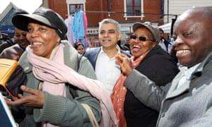 Sadiq Khan in Ridley Road market, Dalston, east London