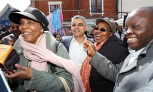 Sadiq Khan on the campaign trail in Dalston in Hackney, London.