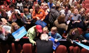 Bernie Sanders greets supporters in Michigan, November 2016