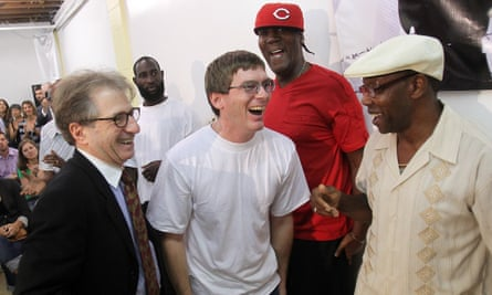 Barry Scheck (left), co-founder of the Innocence Project, with (l-r) Damon Thibodeaux, Derrick James and Rickie Johnson, all of whom were exonerated after being wrongfully convicted.