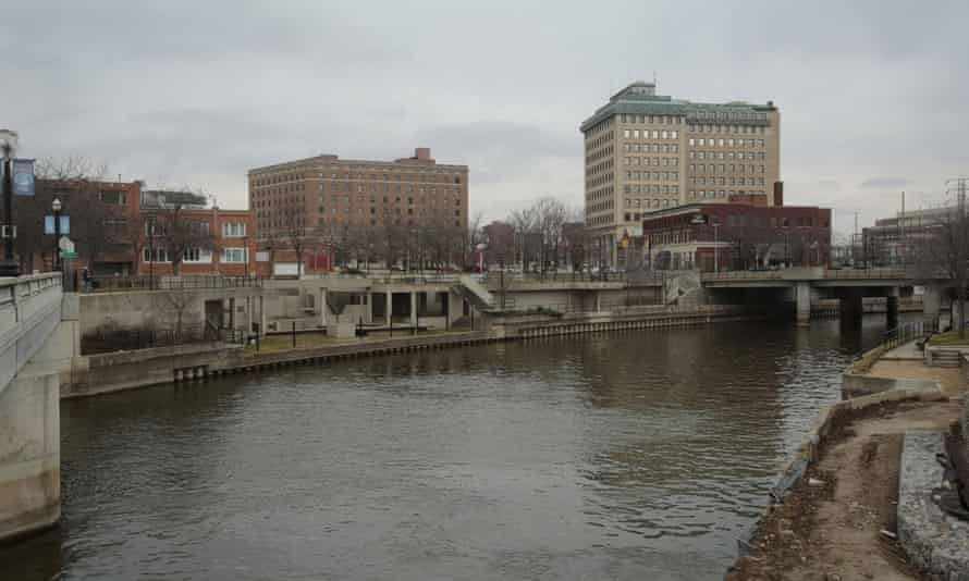 The Flint river is flows through downtown in Flint, Michigan. The decision to switch the city's water supply to the river resulted in lead contamination and serious health consequences.