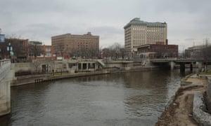 The Flint River flowing through downtown Flint, Michigan.