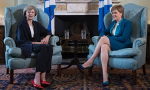 Prime minister Theresa May meets with Scotland's first minister Nicola Sturgeon in Bute House in Edinburgh